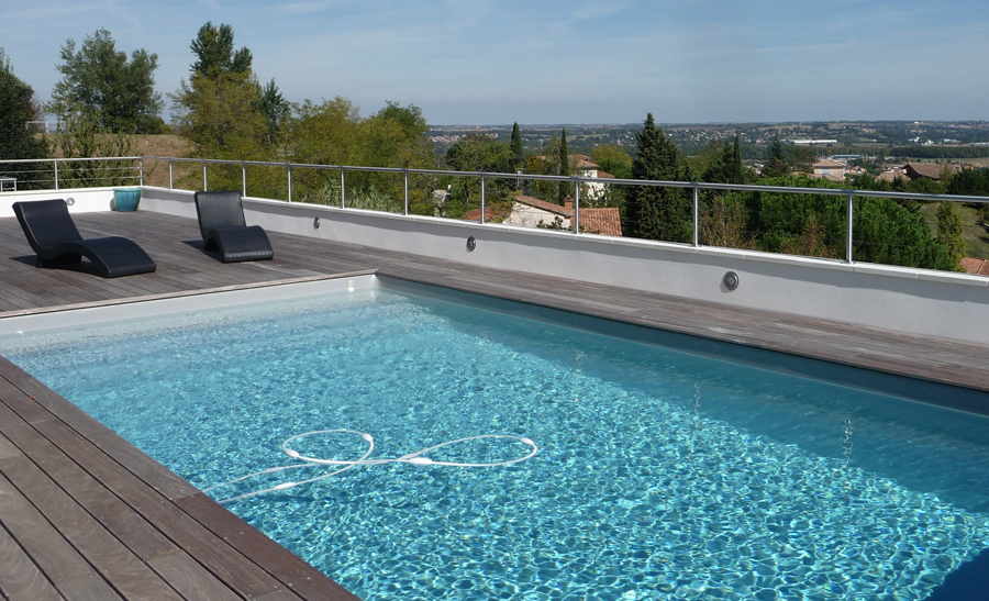 R alisations techneau piscine for Piscine bois liner gris