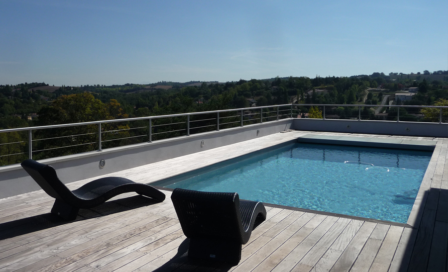 Margelle piscine grise anthracite am nagements ext rieur - Piscine avec liner gris clair ...